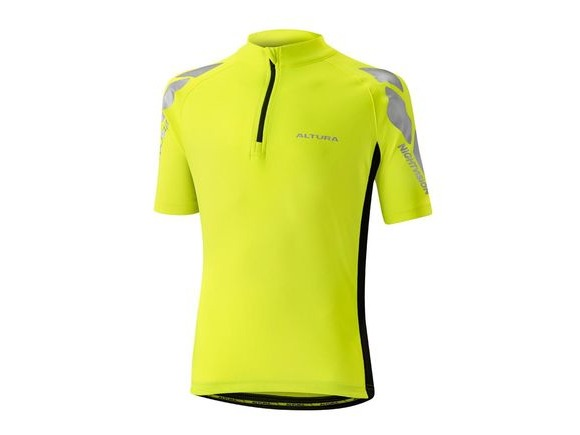 Altura Kids Nightvision Short Sleeve Jersey 2016: Hi Viz Yellow/black click to zoom image
